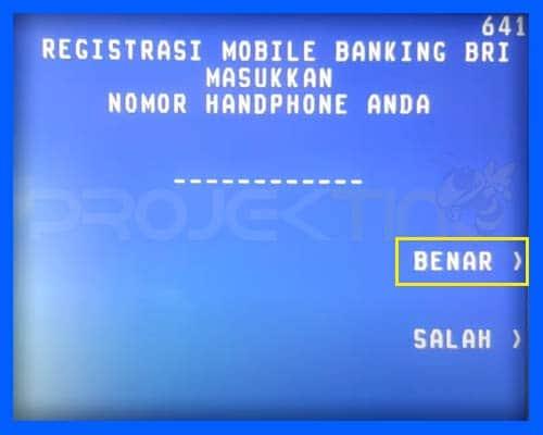Masukan Nomor Hp SMS Banking BRI