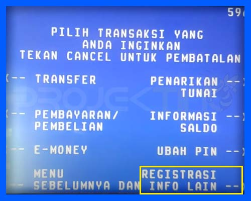 Registrasi SMS Banking BRI di ATM