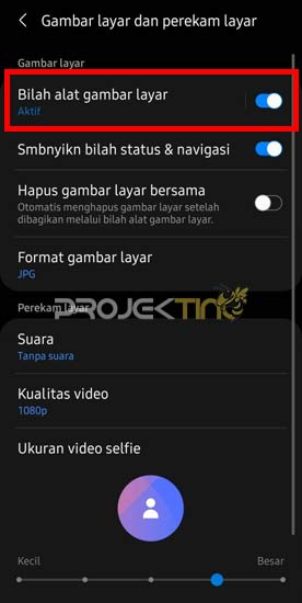 Screenshot Toolbar Samsung