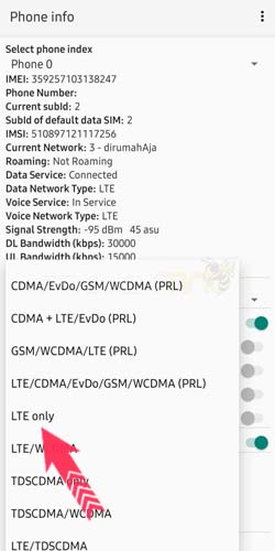 Cara Setting LTE Only Samsung