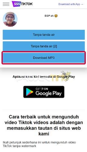 Download MP3 di Tik Tok